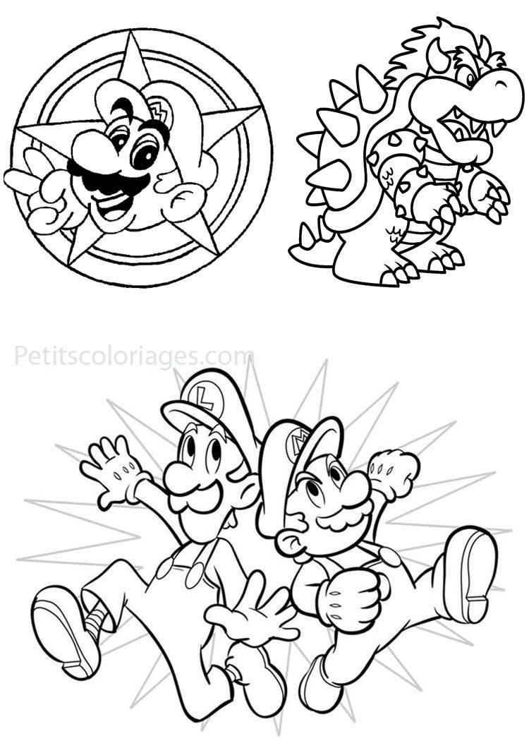 Coloriage Waluigi.Petits Coloriages Mario Bros Sur Petitscoloriages Com