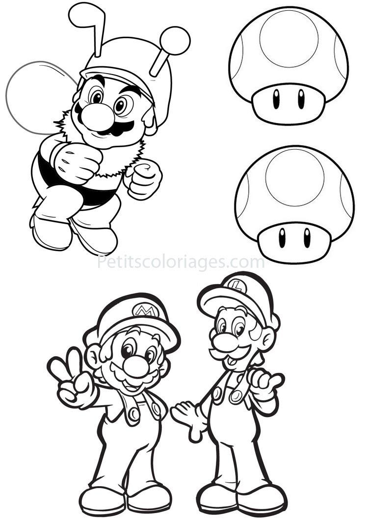 Coloriage Abeille Mario.4 Coloriages Mario Champignon Abeille Luigi Sur Petitscoloriages Com
