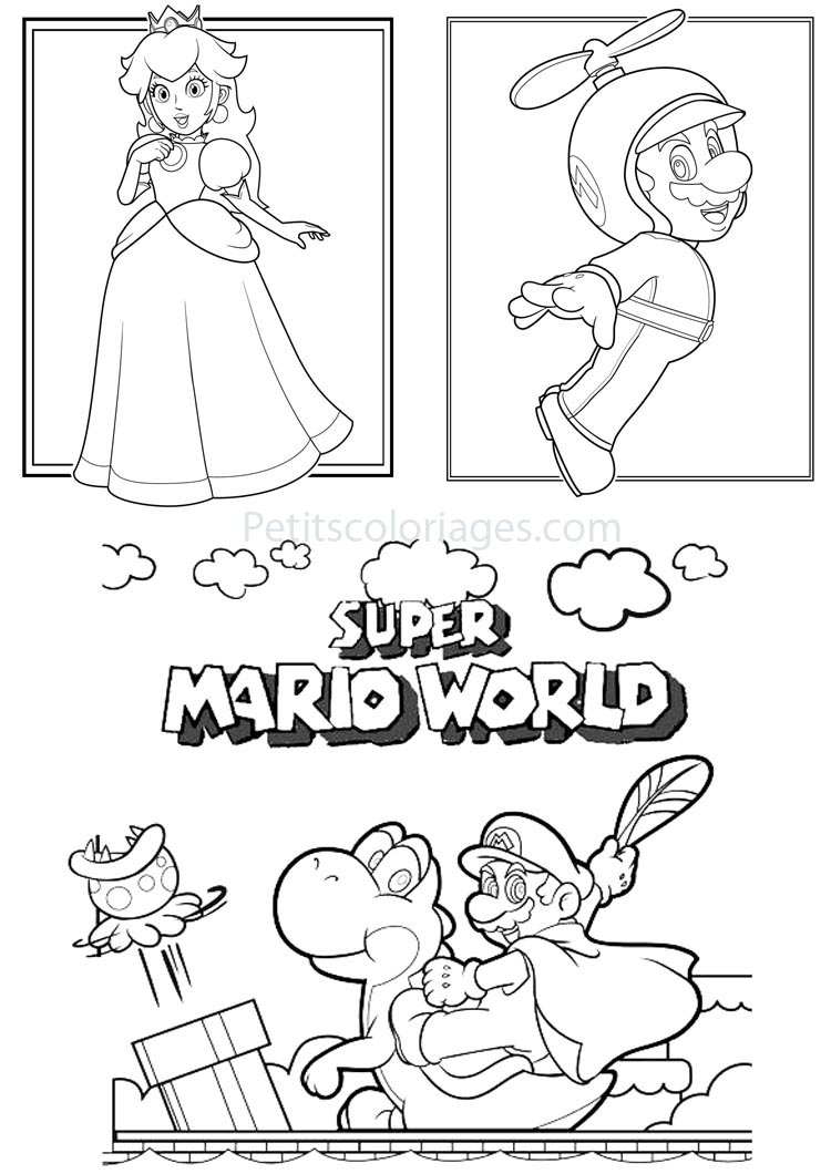 4 Coloriages Mario Super Mario World Yoshi Plante Princesse Peach