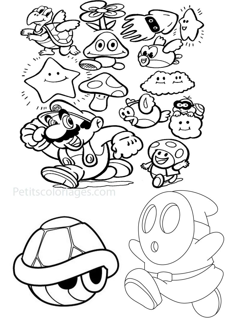 Petits coloriages mario carapace tortue, maskass nuage, calamar, poisson volant, fleur, toad