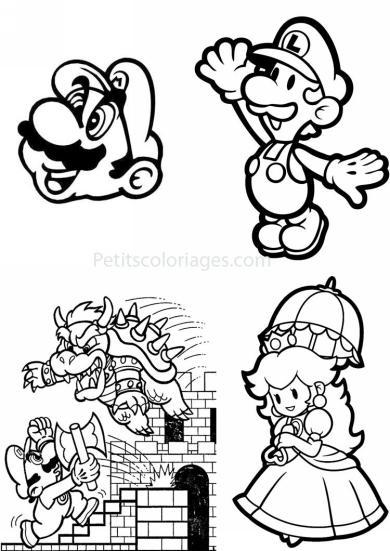 4 petits coloriages mario bros : nintendo, peach princesse, luigi, bowser, hache