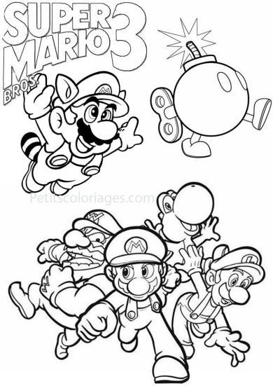 4 petits coloriages mario bros : 3 , raton laveur, bombe, wario, yoshi, luigi