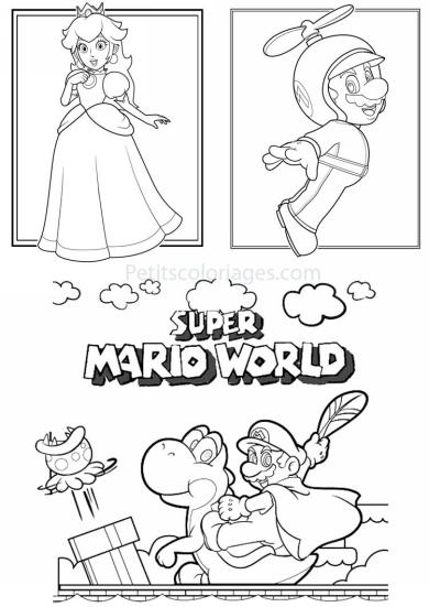 4 petits coloriages mario bros : super mario world, yoshi, plante, princesse peach, mario helice