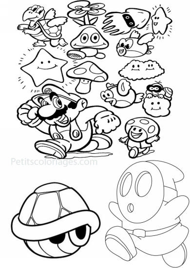 4 petits coloriages mario bros : carapace, tortue, maskass, nuage,  calamar, poisson, volant, fleur, toad