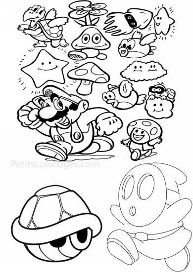 4 petits coloriages mario bros : carapace, tortue, maskass, nuage,  calamar, poisson, volant, fleur, toad