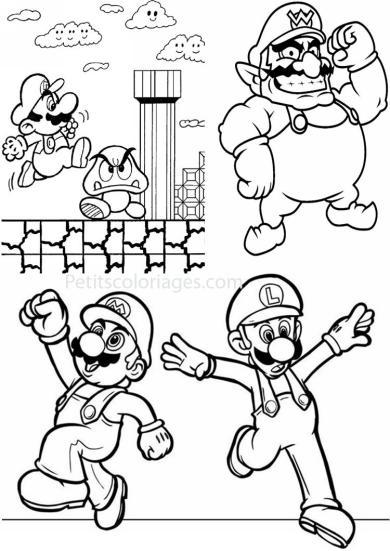 4 petits coloriages mario bros : super mario 1, brique, goomba, tuyau, vert, wario, luigi