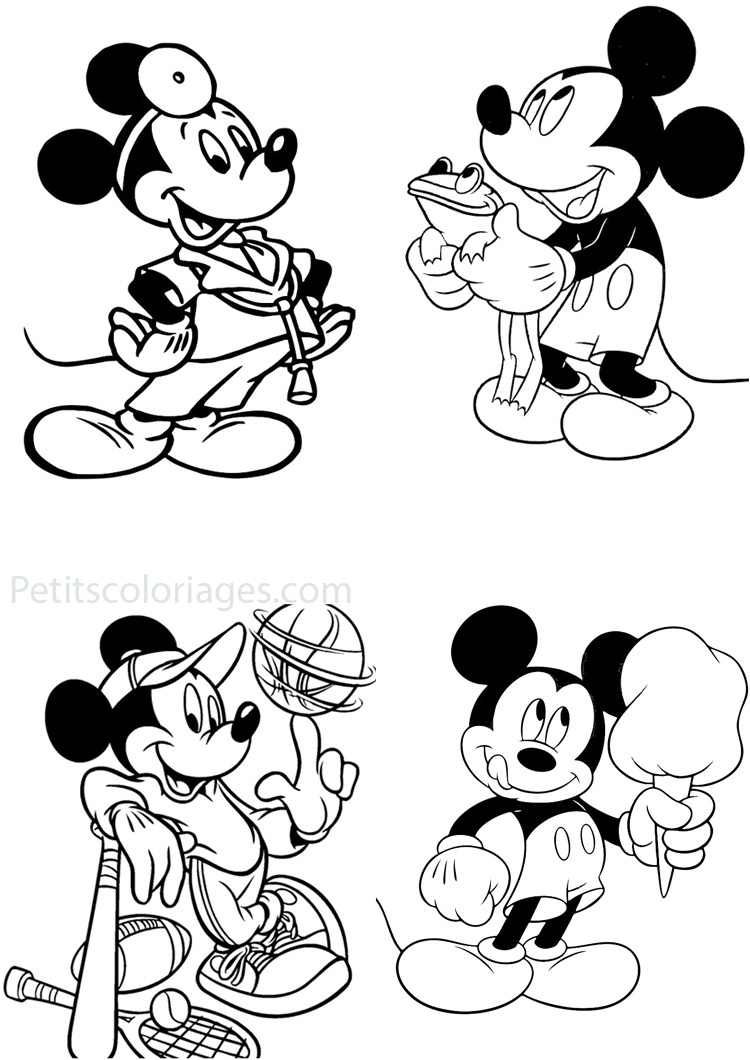 Petits coloriages mickey sport, grenouille, docteur, glace