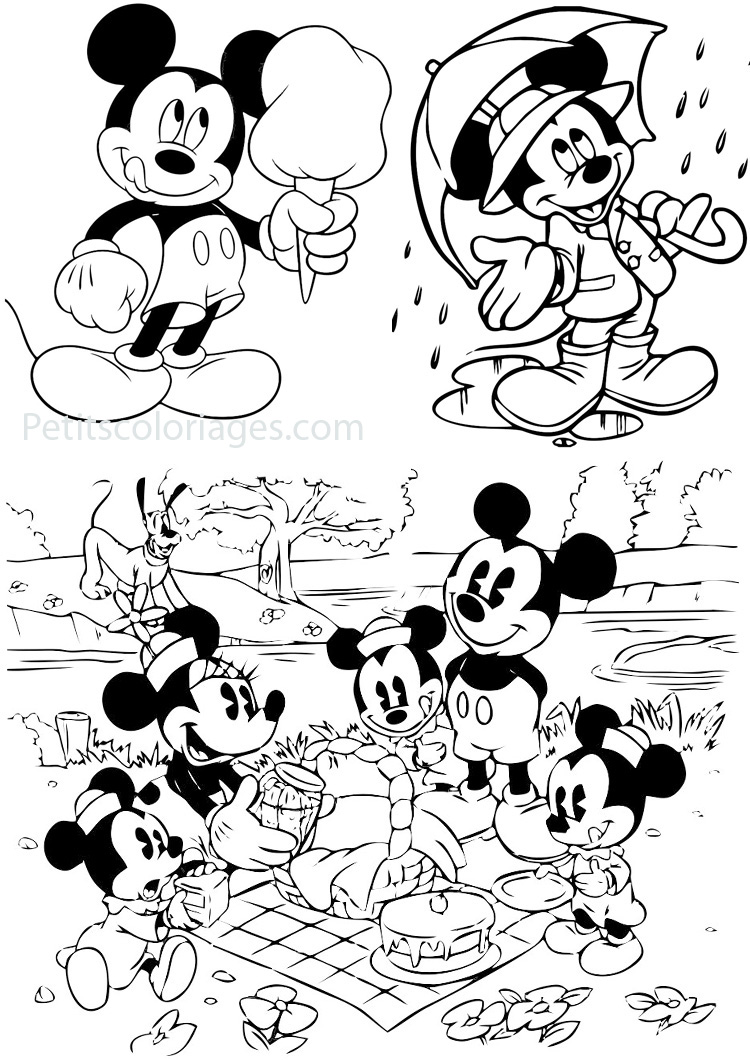 4 Coloriages Mickey Famille Minnie Enfants Pluto Barbapapa