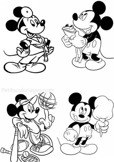 4 petits coloriages mickey : sport, grenouille, docteur, glace