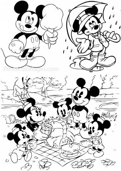 4 petits coloriages mickey : famille, minnie, enfants, pluto, barbapapa, parapluie
