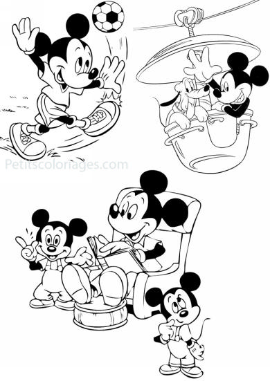 4 petits coloriages mickey : manege, histoire, ballon, foot