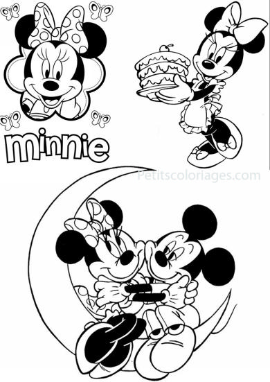 4 petits coloriages Minnie : mickey, lune, gateau