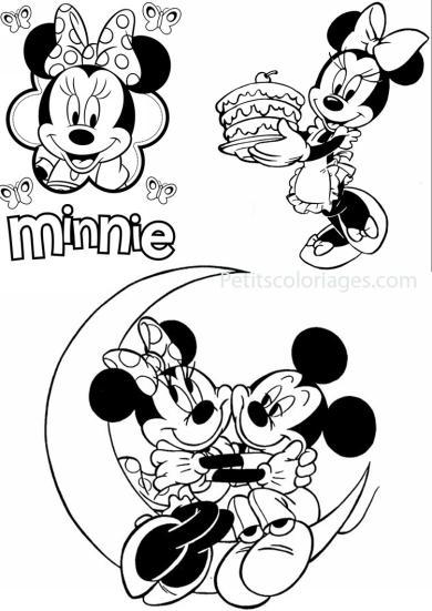 4 petits coloriages Minnie : mickey, lune, gateau
