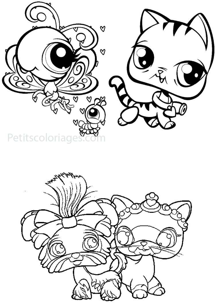 Petits coloriages petshop chenille, papillon, chien, chat