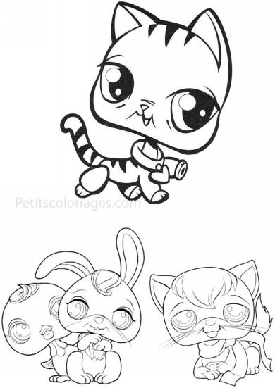 4 petits coloriages petshop : chat, canard, lapin