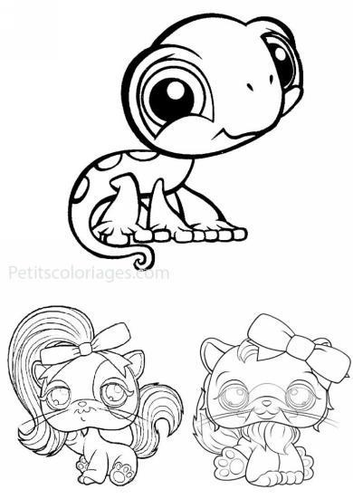 4 petits coloriages petshop : cameleon, chat, chien