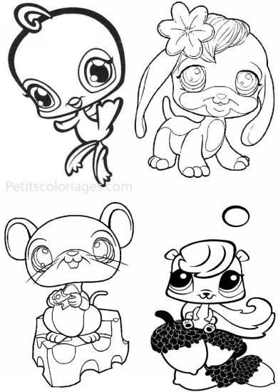 4 petits coloriages petshop : oiseau, souris,  écureuil, chien