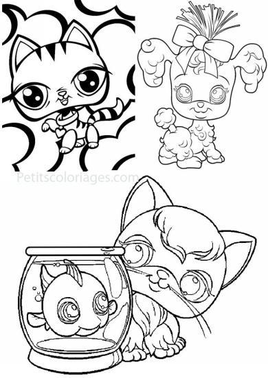 4 petits coloriages petshop : poisson, chat, chien