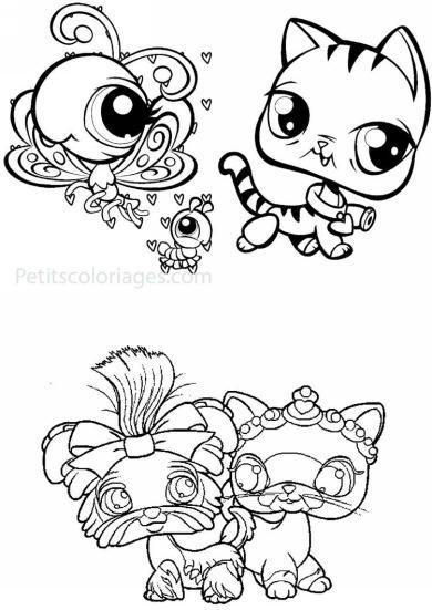 4 petits coloriages petshop : chenille, papillon, chien, chat