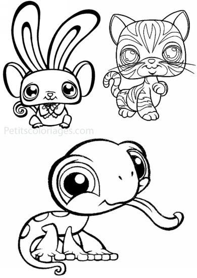 4 petits coloriages petshop : cameleon, souris, lapin, chat