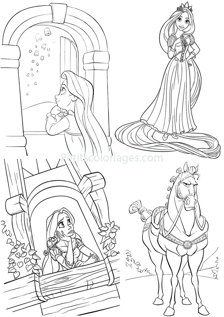 Petits coloriages raiponce enfant,princesse,maximus,cheval