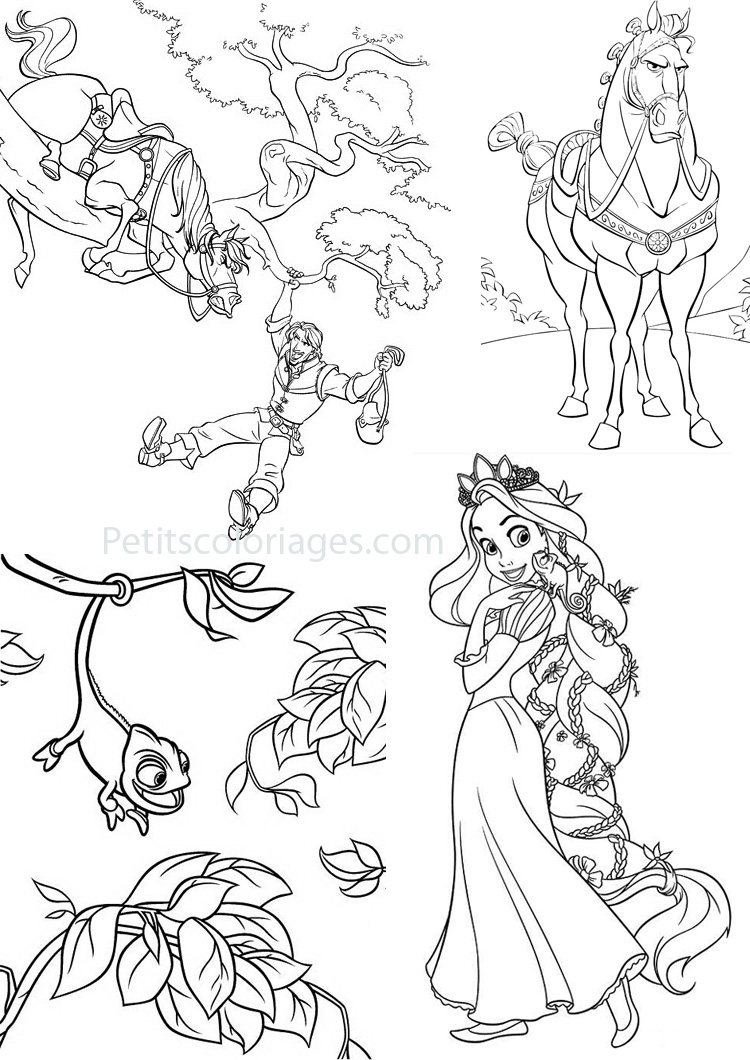 Petits coloriages raiponce rider,cheval,caméléon