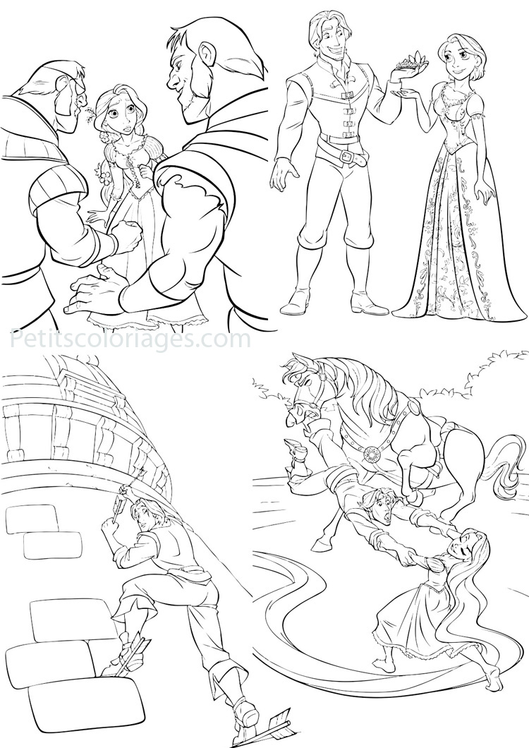 Petits coloriages raiponce méchant,rider,maximus