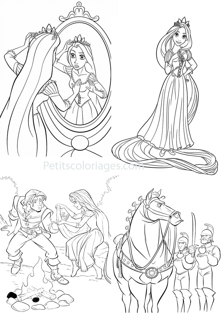 Petits coloriages raiponce couronne,rider,maximus