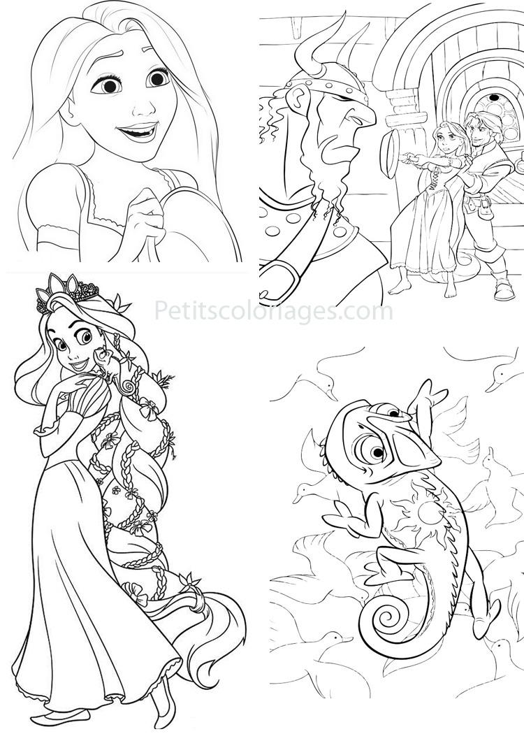 Petits coloriages raiponce viking,rider,pascal