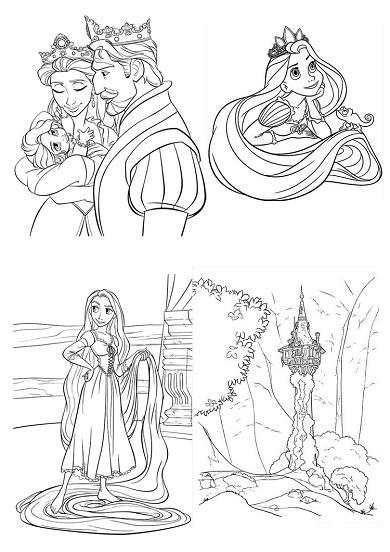 4 petits coloriages raiponce : chateau,roi,reine,bébé,cheveux