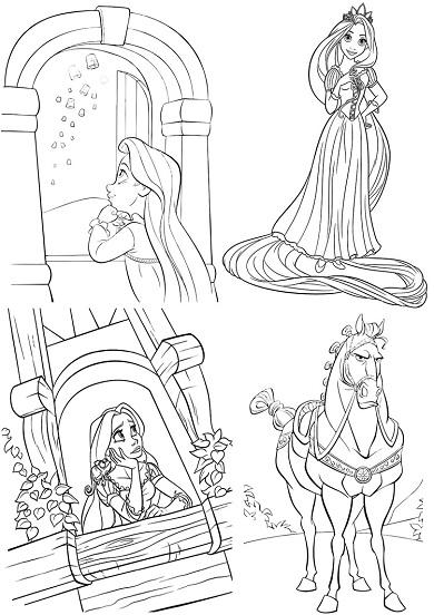 4 petits coloriages raiponce : enfant,princesse,maximus,cheval