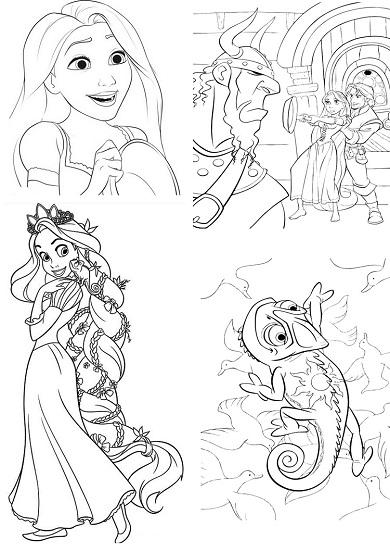4 petits coloriages raiponce : viking,rider,pascal