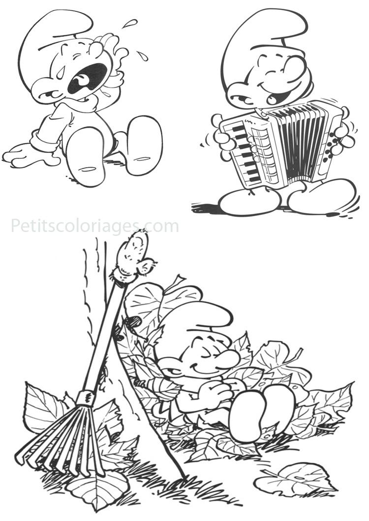 Petits coloriages schtroumpf paresseux, bébé, schtroumpf musicien