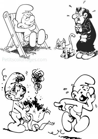 4 petits coloriages schtroumpfs : farceur, schtroumpf paresseux, gargamel, chat azrael
