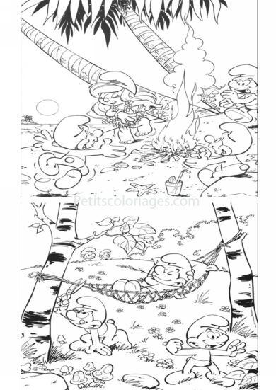 4 petits coloriages schtroumpfs : paresseux, farceur, schtroumpfette, foret, plage
